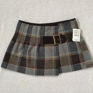 NWT Free People Plaid Wool Wrap Skirt Size 8